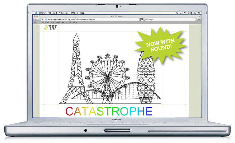 Screen shot showing the structural engineering game Catastrophe