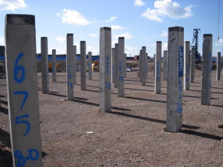Driven piles which now support the lightly loaded infield slab of the London 2012 Olympic Velodrome