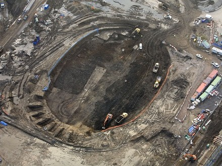 Arial photo of ground works beginning at the London 2012 Olympic Velodrome