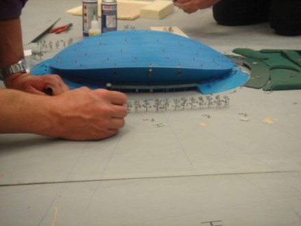 Setting up the model for wind testing for the design of the London 2012 Olympic Velodrome